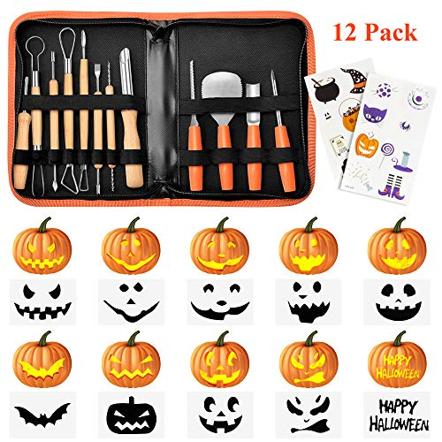 Halloween Pumpkin Carving Kit,Binken 12 PCS Pumpkin Carving Tools for Halloween Decoration,Includes Wooden Pumpkin Carving Knife, Easily Carve Jack-O-Lantern with Carrying ()