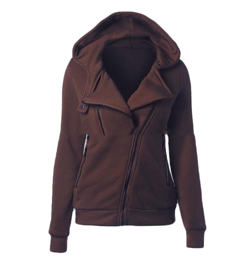 neveraway Womens Oblique Zipper Snap Front Coat Hood Solid Bomber Jacket Coffee S