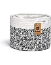 INDRESSME Small Cotton Rope Basket - Cute Woven Basket Toy Storage Bin Closet Storage Baskets Desk Basket Organizer Baby Nursery Hamper Bins