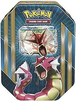 Pokemon Caja Metalica Gyarados en Ingles (Contiene: 4 Sobres , una Carta de Tres Foil aleatoria, Entre: Mewtwo-ex,Shiny Gyarados-ex o machamp-ex) : Amazon.es: Juguetes y juegos