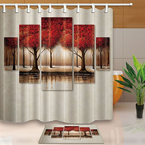 KOTOM Fall Decor, Abstract Red Maple Leaves Creative Design 69X70in Mildew Resistant Polyester Fabric Shower Curtain Suit With 15.7x23.6in Flannel Non-Slip Floor Doormat Bath Rugs (Slip 5569)