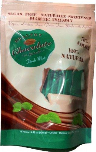 Xylitol Sweetened MINT Dark Chocolates, 15 pcs, 4.23 oz by Healthy Chocolate Company by Healthy Chocolates
