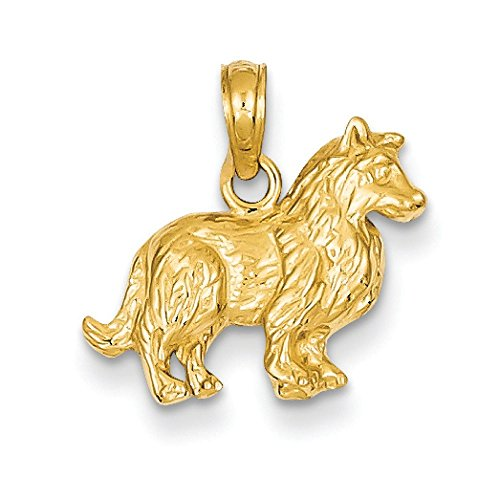 Pendentif 14 carats Collie-Dimensions :  15,4 x 16.7 mm-JewelryWeb