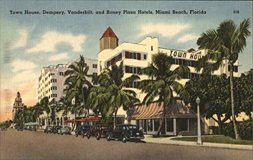 (Town House, Dempsey, Vanderbilt and Roney Plaza Hotels Miami Beach, Florida Original Vintage Postcard)