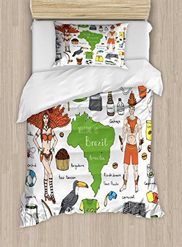 Ambesonne Modern Duvet Cover Set Twin Size, Brazilian Symbols Rio Carnival Samba Dancer Flag Christ The Redeemer Statue Print, Decorative 2 Piece Bedding Set with 1 Pillow Sham, Multicolor (Redeemer Statue Christ Rio)