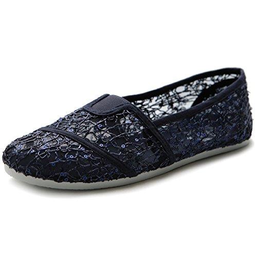 - Ollio Women's Shoe Spangle Lace Slip On Ballet Breathable Flat ML028(8 B(M) US, Navy)