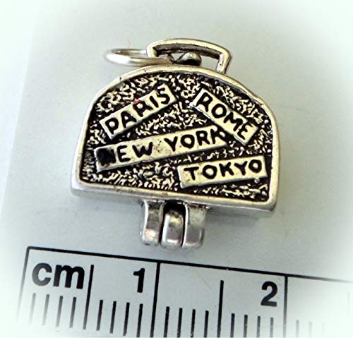 Sterling Silver Travel Movable Luggage Suitcase Rome Paris New York Tokyo Charm Vintage Crafting Pendant Jewelry Making Supplies - DIY for Necklace Bracelet Accessories by CharmingSS
