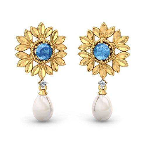 Or jaune 18K 0,05CT TW White-diamond (IJ | SI) et blanc perle et topaze bleue Pendants d'oreilles