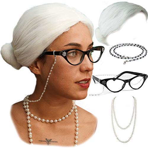 Vibe Old Lady Wig Cosplay Set, White Hair Granny Wig with Pearl Necklace, Glasses, Glass Chain Accessories, 5 Pieces Total ... (White Bun)
