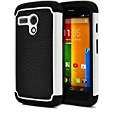 Moto G Case, MagicMobile® Hybrid Rugged Durable Impact Resistant Shockproof Double Layer Cover [DUAL ARMOR SERIES] Protective Hard Shield Shell and Soft Flexible Silicone Skin [ Color: Black - White ] [Compatible Only with Motorola Moto G (1st Gen ONLY)]