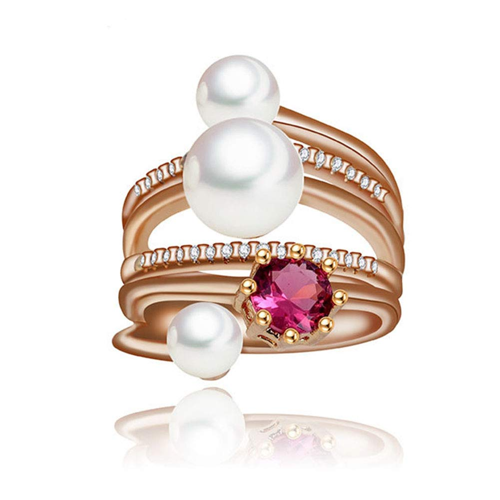 Gift for Women Women Rings 3pcs Imitation Pearl with Round AAA Cubic Zirconia and Fashion Small Round CZ Crystal Jewelry Pearl Statement Ring for Women