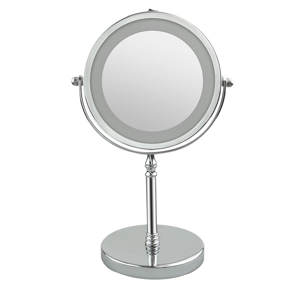 Domybest Espejo de Maquillaje con Luz LED 7 pulgadas 10x, Espejo de Vanidad Giro de 360 grados de LED de doble cara Ajustable