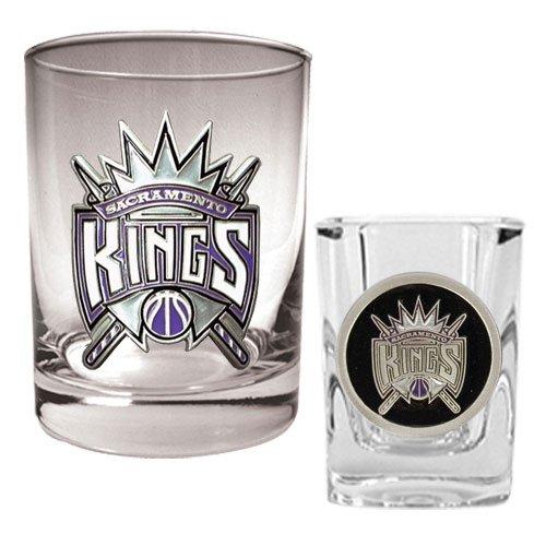 NBA Sacramento Kings Rocks Glass & Square Shot Glass Set - Primary Logo