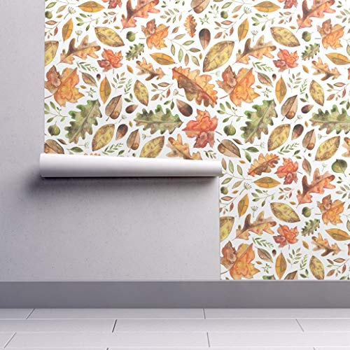 Removable Water-Activated Wallpaper - Leaves Leaves Fall Autumn Halloween Floral Seasons Harvest Yellow by Elena O'neill Illustration - 24in x 108in Smooth Textured Water-Activated Wallpaper Roll]()