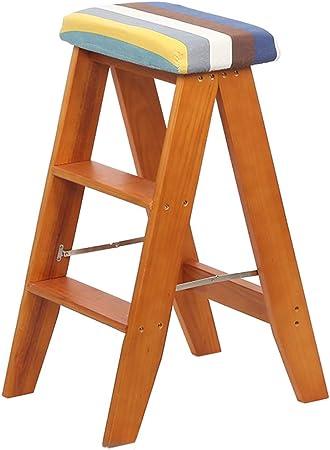 XWZJY Taburete Alto Pedal Madera Maciza Taburete Escalera Plegable Silla de escaleras Cocina casera de Doble Uso Escalera de Tijera, Herramientas de jardín Ligeras (Color Nogal, tamaño: 3 Niveles): Amazon.es: Hogar