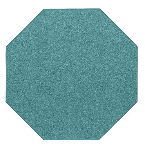 Rug Octagon - Home Queen Color World Collection Way Kids Favorite Area Rugs Teal - 4' Octagon with Non Slip Backing