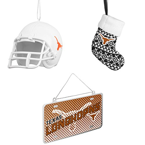 NCAA Texas Longhorns ABS Helmet Ornament ORNAMENT STOCKING KNIT Metal License Plate Christmas Bundle 3 Pack By Forever (Champions Christmas Stocking)