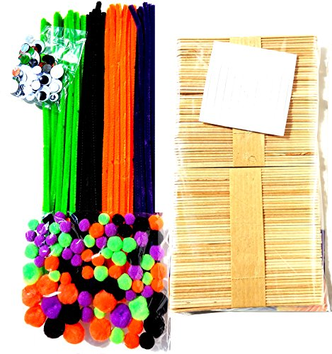 Jumbo 800 Piece Crafting Kit for Kids | Pipe Cleaners, Pompoms, Googly Eyes, Sticks & More | DIY Creative Halloween Art Fun