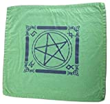 Wiccan Pagan Witchcraft Tarot Celtic Altar Cloth Small Tapestry with Pentagram Pentacle Design (Forrest Green)