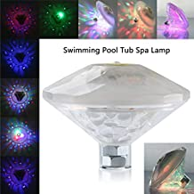 Enjoydeal Floating Underwater Submersible LED Light Show Swimming Pool Lights 6 Modes LED RGB Waterproof Underwater RGB LED Disco Light Battery Powered Lights Pond Tub Spa Lamp