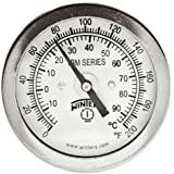 """Winters TBM Series Stainless Steel 304 Dual Scale Bi-Metal Thermometer, 2-1/2"""" Stem, 1/4"""" NPT Fixed Center Back Mount Connection, 2"""" Dial, 0-200 F/C Range"""