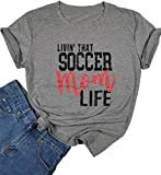 DUDUVIE Womens Livin That Soccer Mom Life T-Shirt Round Neck Short Sleeve Top Tees(X-Large,Grey)