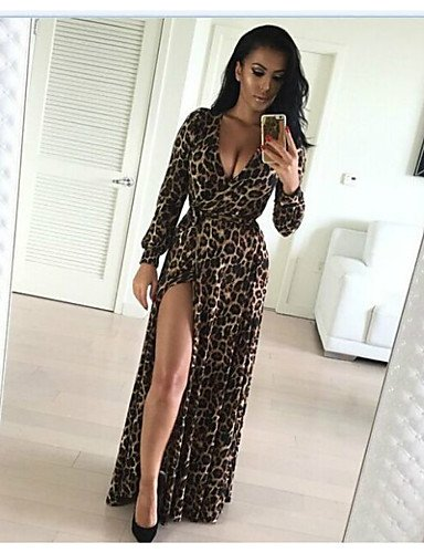 e9e1fde43ce ELECTROPRIME 2016 New European and American Sexy Leopard Maxi V-Neck Long-Sleeved  Dress Length Skirt Split  Amazon.in  Clothing   Accessories