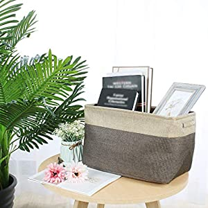 uxcell Collapsible Fabric Storage Basket w Dual Handles, Foldable Canvas Toy Bins for Laundry Clothes Storage Home Organizer for Bedroom Office, Closet, Kitchen & More (Coffee Color, L)