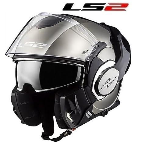 /Casco LS2/ff399/Valiant Glossy Chrome Negro//Plata//cromo//brillante /
