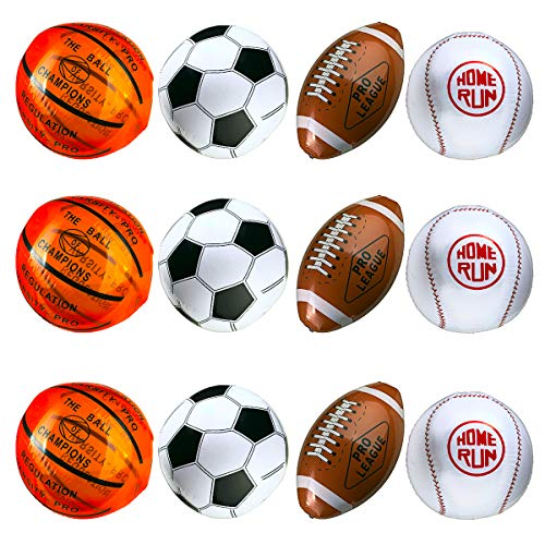 "12-Pack 16"" Inflatable Sport Beach Balls - 3x Basketballs, 3x Baseballs, 3x Footballs, 3x Soccer Balls, Sports Party Decorations and Party Favors for Parties, 12 Safe & Strong Super Fun -"