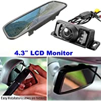 CHAMPLED 4.3 Inch Color Digital TFT LCD Screen Car Rear View Mirror monitor + Backup Camera For FORD CHRYSLER CHEVY CHEVROLET DODGE CADILLAC JEEP GMC PONTIAC HUMMER LINCOLN BUICK
