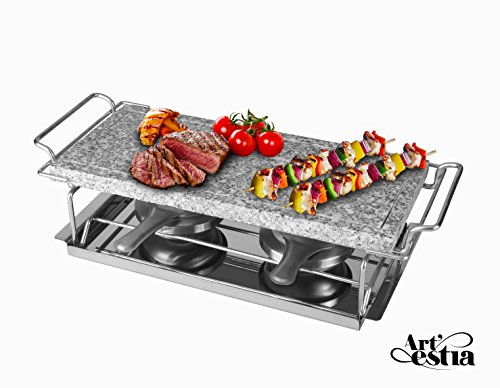 Artestia Sizzling Hot Cooking Stone Griller with dual Rechauds