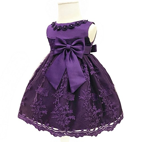Purple Gauze (H.X Baby Girl's Newborn Bowknot Gauze Christening Baptism Dress Infant Flower Girls Wedding Dresses 8 Color (18M/13-18 Months, Purple))