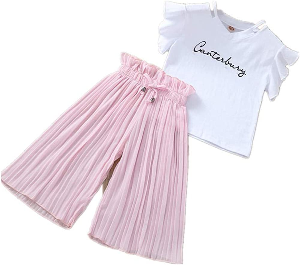 Brave DiGi Children Kids Girls Letter Print T-Shirt Tops+Ruffle Loose Pants Outfits Costume