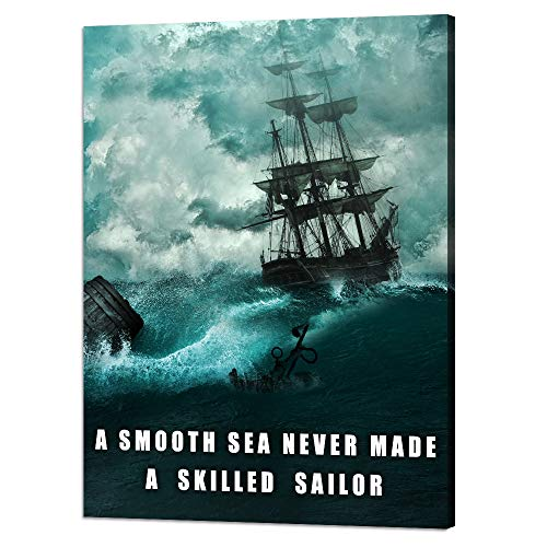 Motivational Wall Art Inspirational Quotes Pictures Inspiration Motivation Inspire Canvas Painting Sailing Ship Storm Posters Prints Artwork Home Decor for Office Framed Ready to Hang (30