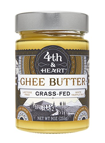 Salted White Truffle Grass-Fed Ghee Butter by 4th & Heart, 9 Ounce,Pasture Raised, Non-GMO, Lactose Free, Certified Paleo, 9 oz