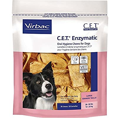 Virbac Corp C.E.T. Enzymatic Oral Hygiene Chews for Dogs 30 Chews (Large Dogs 26 to 50lbs) Treats Chews from CET