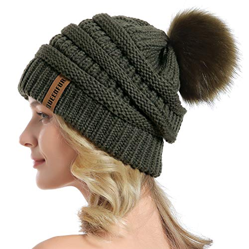 QUEENFUR Women Knit Slouchy Beanie Chunky Baggy Hat with Faux Fur Pompom Winter Soft Warm Ski Cap (Dark Olive)