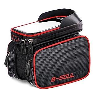 AISISAIWEN Bike Frame Bag Bicycle Top Tube Bag Waterproof Sensitive Touch Screen Cell Phone Mount Holder iPhone 6/6s/7/7s/8/X Plus Samsung 7 Note 7 Below 6.2 inch Top Tube Handlebars Storage Bag