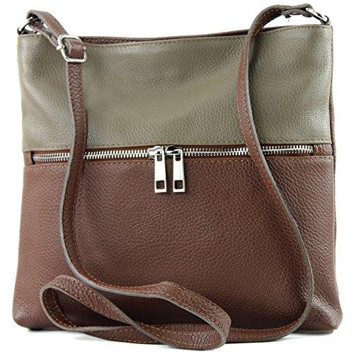tracolla Braun signore de crossover a borsa Cartella in T144 pelle ital di borsa in pelle Dunkeltaupe modamoda H1w4CWxqW