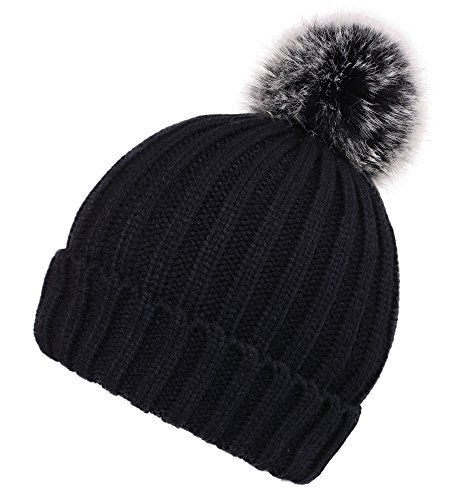 Arctic Paw Heathered Cable Knit Beanie with Faux Fur Pompom Adult