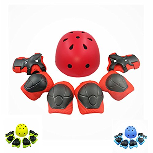 Kiwivalley Kids Boys and Girls Outdoor Sports Protective Gear Safety Pads Set [Helmet Knee Elbow Wrist] for Scooter, Skateboard, Bicycle, Rollerblades (4-14 Years Old) (Skateboard Helmets Pads)
