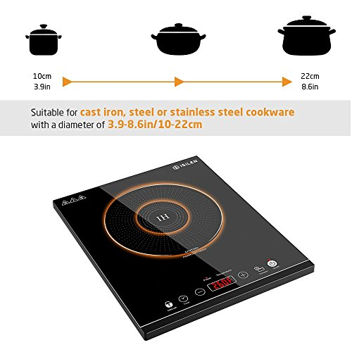 Portable Induction Cooktop, iSiLER 1800W Sensor Touch Electric Induction Cooker Cooktop with Kids Safety Lock, Countertop Burner Suitable for Cast Iron, Stainless Steel Cookware by iSiLER (Image #2)