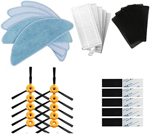 BLUELIRR 10 cepillo lateral +5 filtro HEPA +5 esponja +5 paño mopa ...