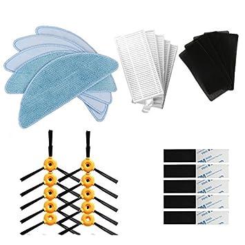 BLUELIRR 10 cepillo lateral +5 filtro HEPA +5 esponja +5 paño mopa +10 pasta mágica Para CONGA EXCELLENCE Aspiradora robótica Partes