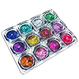Happlee 12 Colors Shiny Round Ultrathin Sequins, nail Glitter Paillette Decoration, Circular Fluorescent Sequins Perfect for Art Projects School or Home, Scrapbooking, DIY Crafts &Nail Art (φ=2mm)