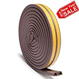 Loobani Self Adhesive EPDM Doors and Windows Draught Excluder Foam Seal Strip Soundproofing Collision Avoidance Rubber Weatherstrip 3/8-Inch x 1/4-Inch x 2.5-Meters, 2 Seals(Coffee)