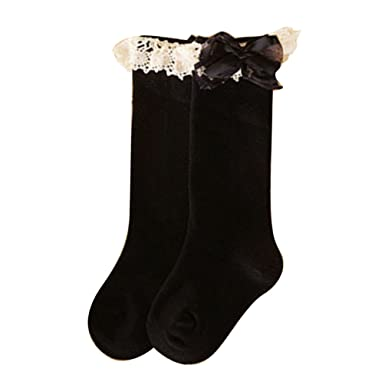 5605513dc6ab6 Profusion Circle Kids Baby Girls Sweet Bow Lace Cotton Socks Below Knee  High Socks School Dance Socks: Amazon.co.uk: Clothing