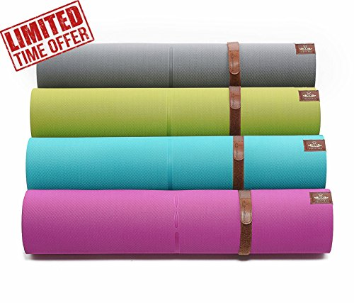 """Heathyoga Advanced Non Slip Yoga Mat with 30% More Cushion and Grip, Exclusive Sanskrit Alignment Line, Dual Color and Reversible, 72""""x26"""", 6.5mm - Exclusive Line"""