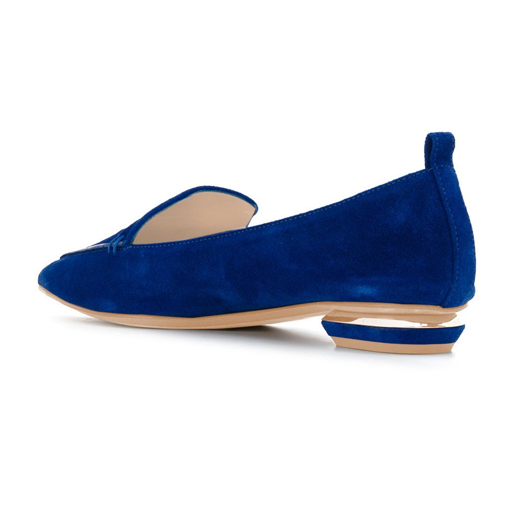 FSJ Fashion Pointed Toe Pumps Low Shoes Heels Slip-on Shoes Low for Women Size 4-15 B076BQKJQJ 8 M US|Blue-suede a86ae4